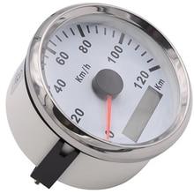 85 มม.120 km/h รถจักรยานยนต์ Auto GPS Speedometer เครื่องวัดระยะทางกันน้ำวัดสำหรับรถบรรทุกเรือ 12V 24V RED Blacklight