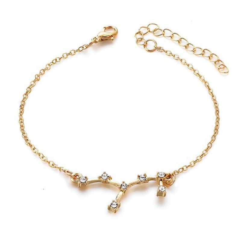 Todorova טרנדי 12 מזלות קונסטליישן שרשרת צמיד לנשים בציר זהב צבע קריסטל צמיד 2019 צמיד בוהמי