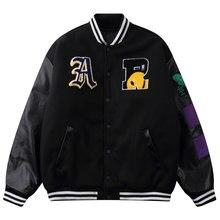 LACIBLE Hip Hop kurtka bejsbolówka płaszcze kurtka Varsity mężczyźni Streetwear haftowane litery Bomber kurtka Harajuku luźne Unisex