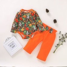 Baby Girls Boys Cute Halloween Casual Long Sleeve Autumn Cotton Floral Romper Tops Pants Children\s Outfits Set