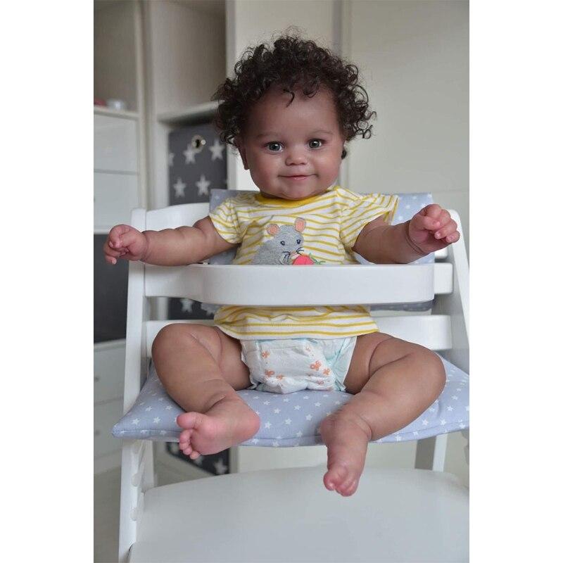50CM Weichen Körper Flexible Reborn Baby Mädchen Maddie Schwarz Haut African American Baby Handrooted Haar mit Flasche und Schnuller
