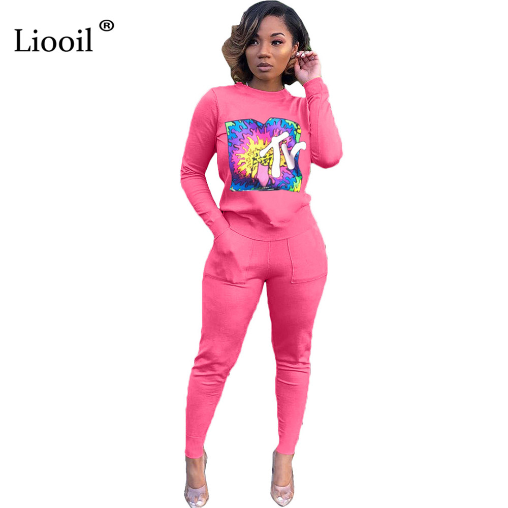 Liooil Letter Print Two Piece Outfits Set Women Tracksuit 2019 Long Sleeve O Neck Sexy T Shirt Top And Pencil Pants With Pockets