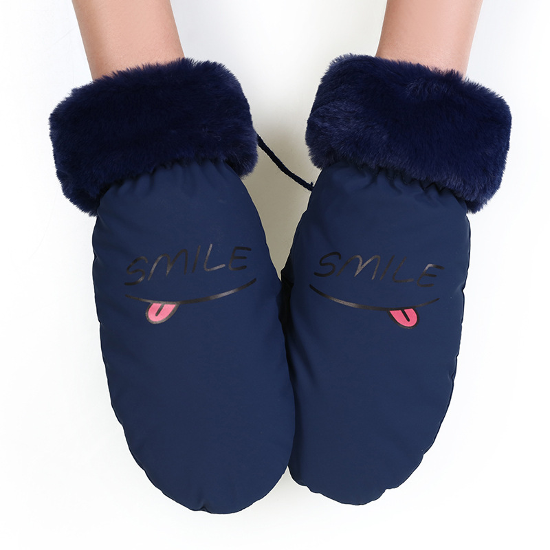 2019 Lovely Women Winter Gloves Smile Letter Adult's Winter Gloves Women Suede Leather Mittens Cotton Warm Gloves