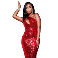 Nightclub WOMEN'S Dress Europe And America WOMEN'S Dress Red Style Sequined Evening Gown Dress