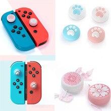 Cute Cat Paw Pink Sakura Pad Thumb Stick Grip Cap Joystick Cover For Nintend Switch Lite NS Joy Con Controller Thumbstick Case