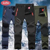 LUTU cálido otoño invierno Softshell pantalones de senderismo hombres pantalones impermeables al aire libre deportes Camping senderismo ciclismo esquí pantalones de lana
