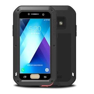 Image 1 - 2017 A3 A5 LOVE MEI чехол Gorilla Glass для SAMSUNG Galaxy A320 A520 A3 A5 2017 противоударный металлический алюминиевый чехол для телефона