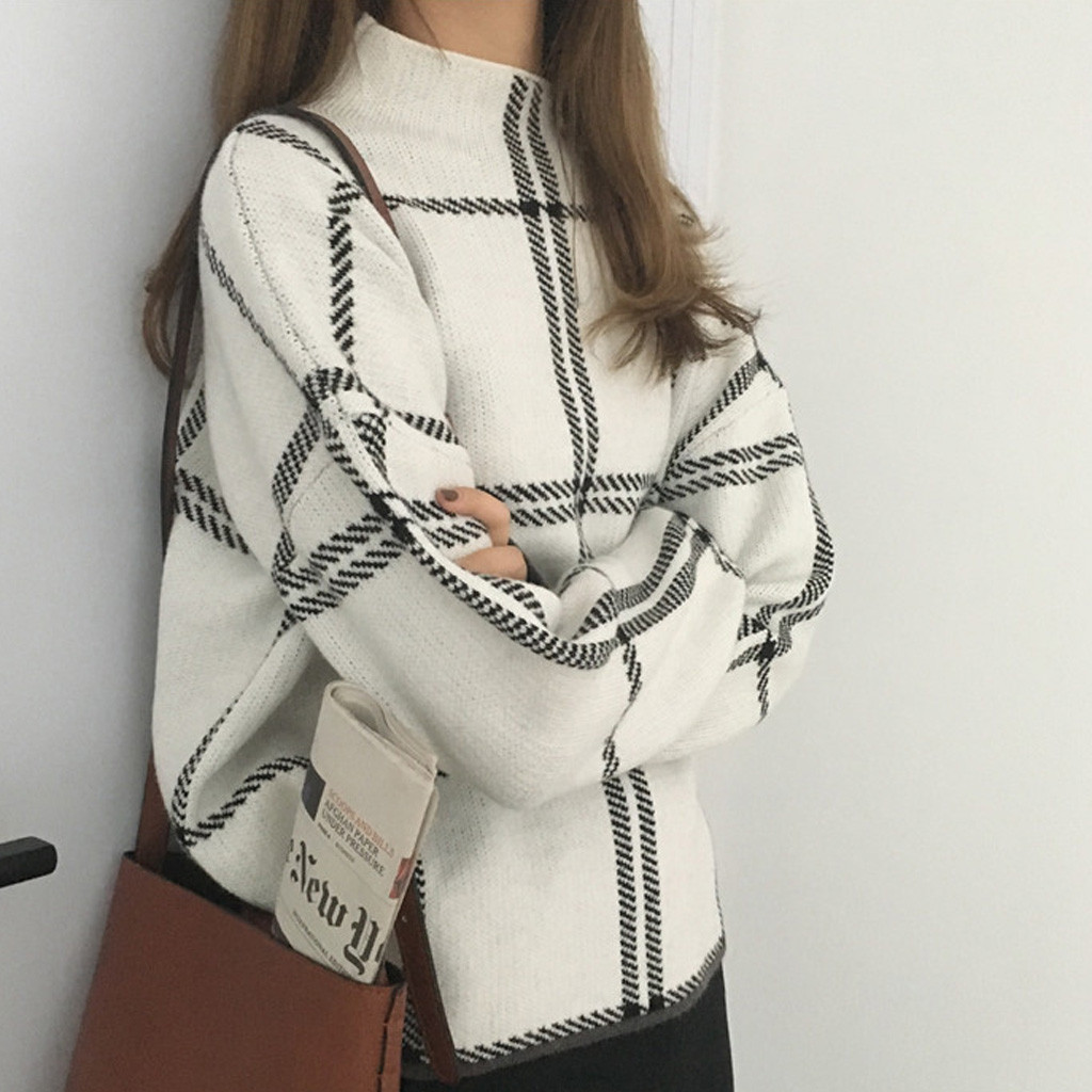 2020 Ins Winter New Women's Pullovers Sweater Fashion Plaid Turtleneck Loose Knit Full Sleeve Korean Casual Tops