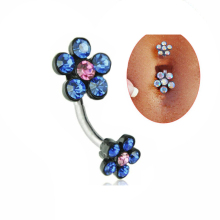 Fashion Rhinestones Flower Body Jewelry Plum Navel Belly Button Ring Piercing Women