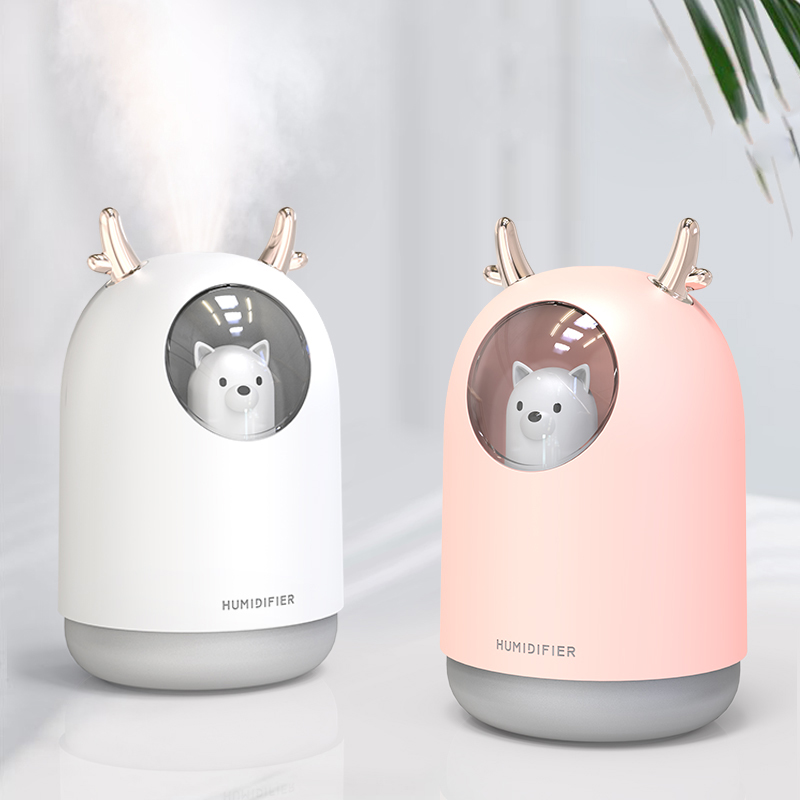 300 Ml Ultrasonic Air Humidifier Usb Aroma Diffuser Humidificador Mini Cool Mist Cute Pet For Home Office 7 Color LED Lamp