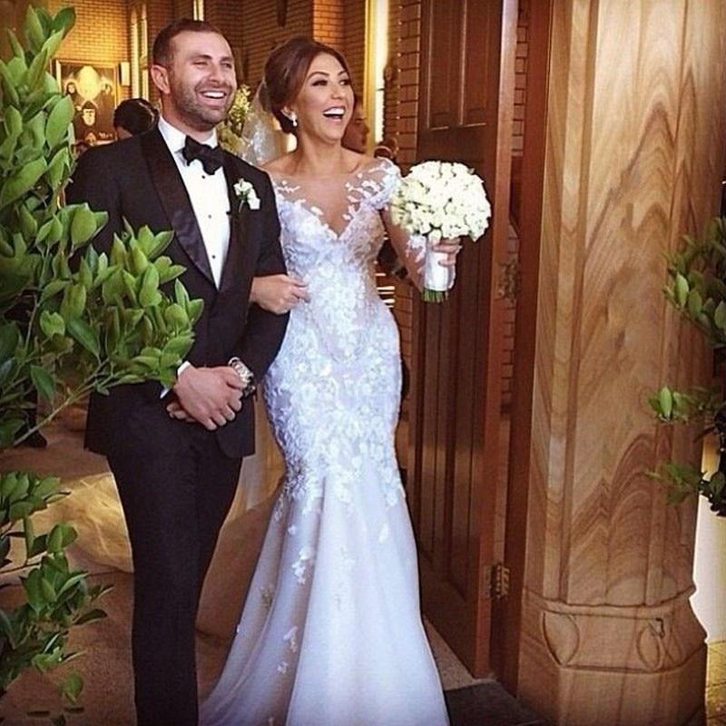 2019 Fashion Romantic New Design Luxurious Appliqued Mermaid Sexy See Through Elegant Lace Wedding Dress