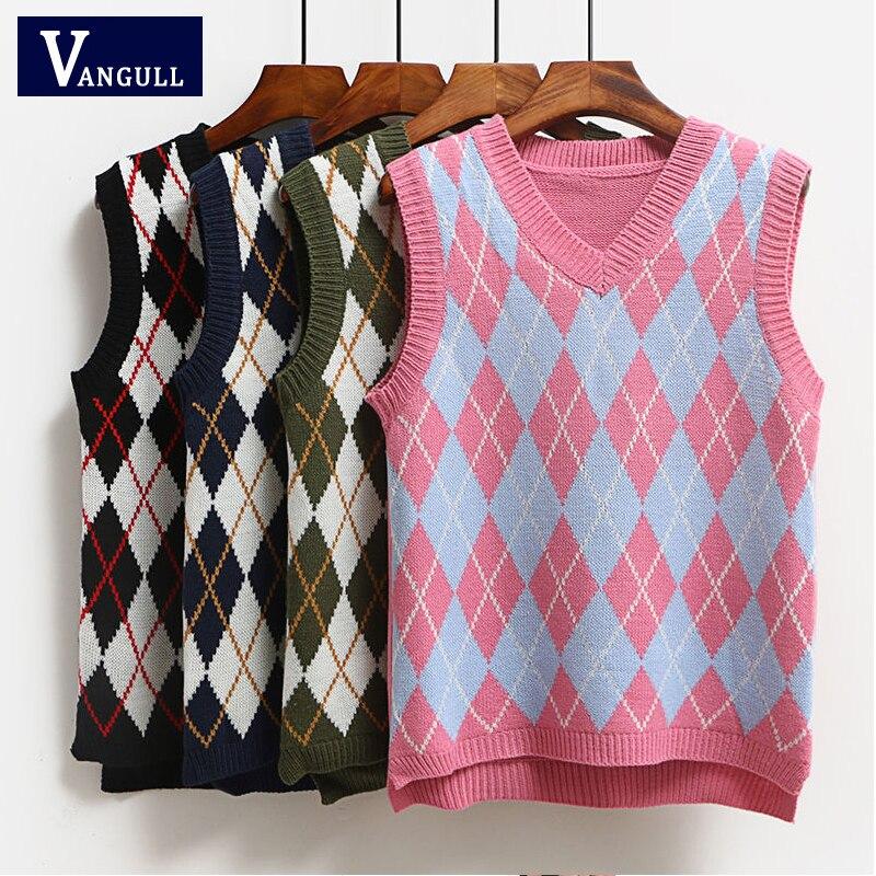 Vangull Argyle Fashion Knitted Vest Women Casual Korean Pullover Elasticity Sweater Spring Autumn Sleeveless V-Neck Tank Tops