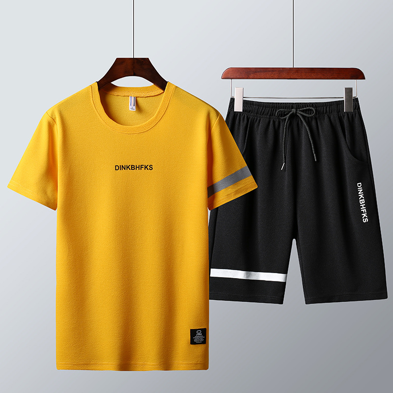 2019 Summer Main Push New Fabric Men Short Set Sports Leisure Suit Short Sleeve Shorts Two-Piece Set