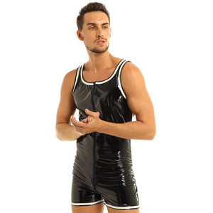 Image 3 - Mens הלבשה תחתונה גוף גרב סקסי בגד גוף מקשה אחת מראה רטוב Clubwear מול רוכסן מתאגרף תחתוני בגד גוף בגד גוף מסיבת תחפושות