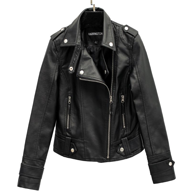 Autumn Street Women's Short Washed PU Leather   Jacket   Zipper Bright Colors Ladies   Basic     Jackets   Slim Fit Women Coats