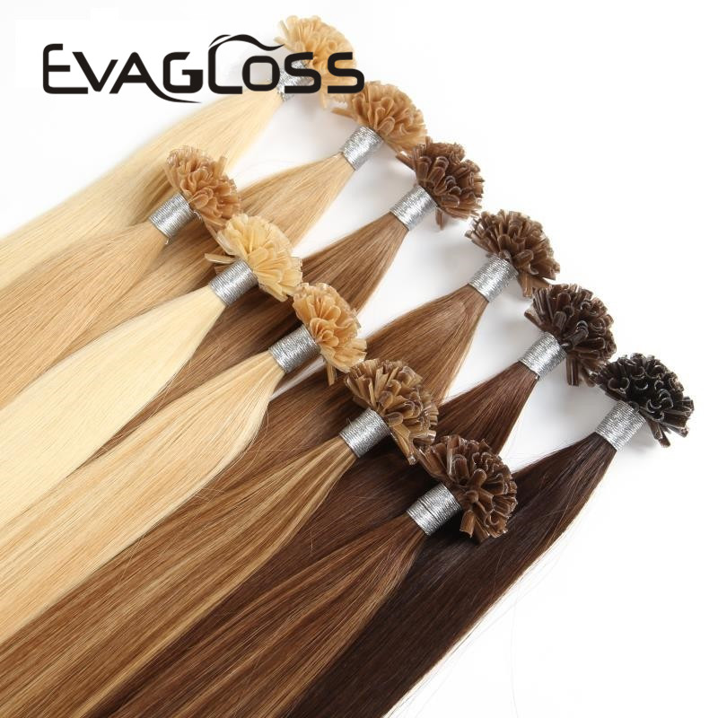 EVAGLOSS Italian Keratin Fusion Pre Bonded Microlink Nail U Tip Cuticles Aligned Natural Real Russian Remy Human Hair Extensions