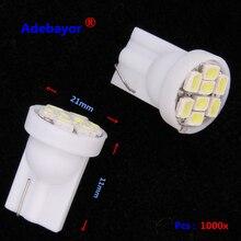 1000 PCS T10 194 168 W5W DC 12V 1206 8 SMD LED Light Bulb License Plate Lights Indicator Reading Lamps Car Styling White blue