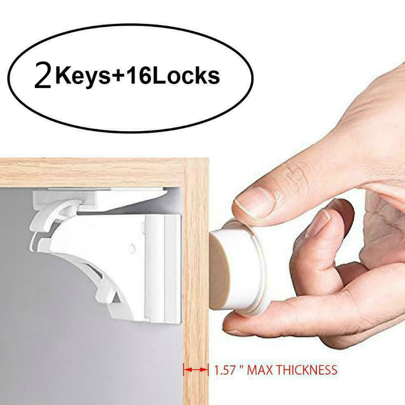 16Pcs Invisible Child Safety Magnetic Lock Baby Proof Cupboard Door Drawer Locks Kids Magnetic Lock Kids Safety Invisible Lock