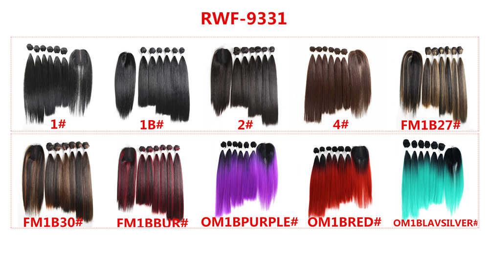 SOKU Yaki Rambut Sintetis Lurus Tenun dengan Penutup Merah Rambut Ekstensi 14-18 Inch Menjahit Di Rambut Pakan tahan Panas Serat