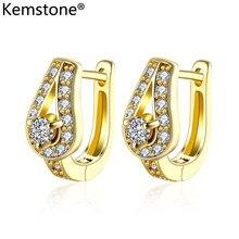 Kemstone, кубический цирконий, золотой цвет, медная искусственная Женская бижутерия, подарок для женщин