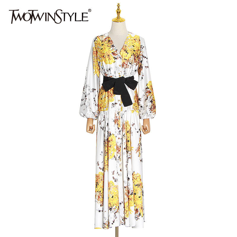 TWOTWINSTYLE Casual Print Women Dress V Neck Lantern Long Sleeve High Waist With Sashes Hit Colro Ruched Dresses Female Clothing