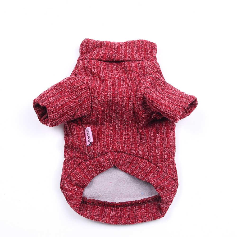 Gato do cão kinted camisola jumper dentro adicionar velo pet filhote de cachorro casaco jaqueta roupas quentes 3 cores 6 tamanhos