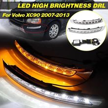 цена на 2pcs Car Daytime Running Lights LED DRL For Volvo XC90 2007 2008 2009 2010 2011 2012 2013 Lamp Turn Signal fog lamp Flashing