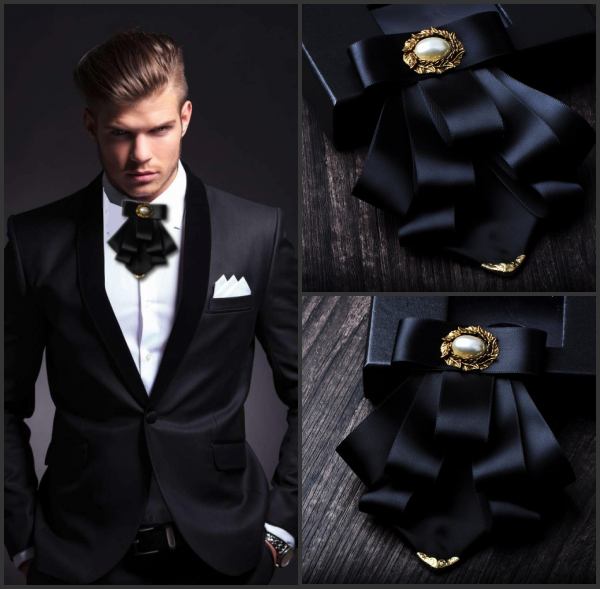 I-Remiel British Style Multi-layer Fabric Bow Tie Wedding Groom Formal Collar Shirt Dress Necktie Cravat Clothing & Accessories