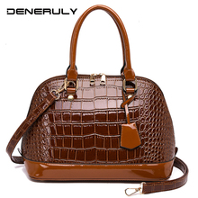 купить Women Crocodile Leather Handbags Vintage Ladies Shoulder Bags Luxury Hand Bags High Quality Messenger Bag Fashion Top-handle Bag по цене 1273.97 рублей