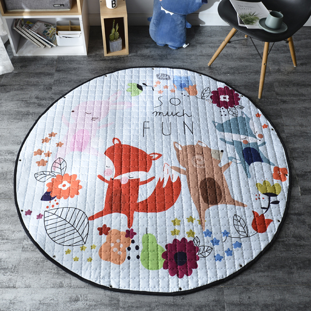 H88199a71dffe4095a68c03b10fcef2f5G Kid Soft Carpet Rugs Cartoon Animals Fox Baby Play Mats Child Crawling Blanket Carpet Toys Storage Bag Kids Room Decoration