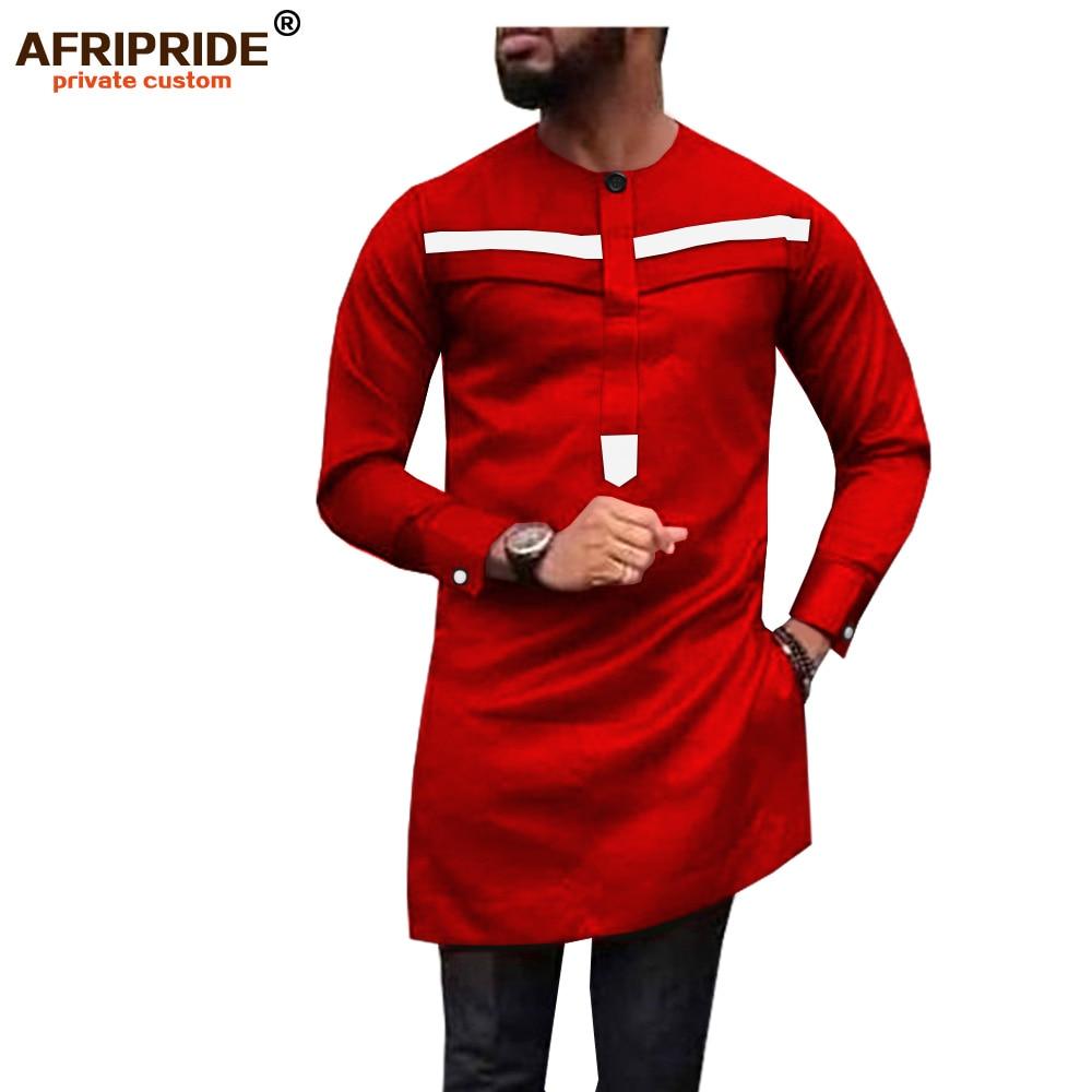 2019 African Men Shirt Plus Size Dashiki Tops Ankara Blouse Long Sleeve Outwear Tribal Dress Shirts Slim Fit AFRIPRIDE A1912008