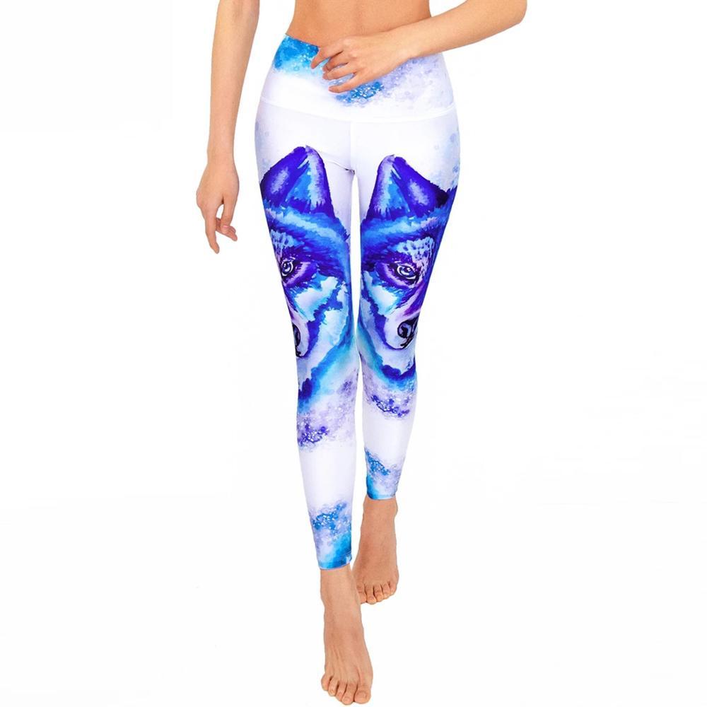 New Slim Digital Print Leggings Women Blue Snow Wolf Sporting Pants Fashion Printed Women's Fitness Leggings