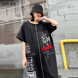 XITAO уличная сплайс платья с застежкой-молнией меньшинств платье средней длины Для женщин модные свободные плюс Размеры женская одежда 2020 Но...