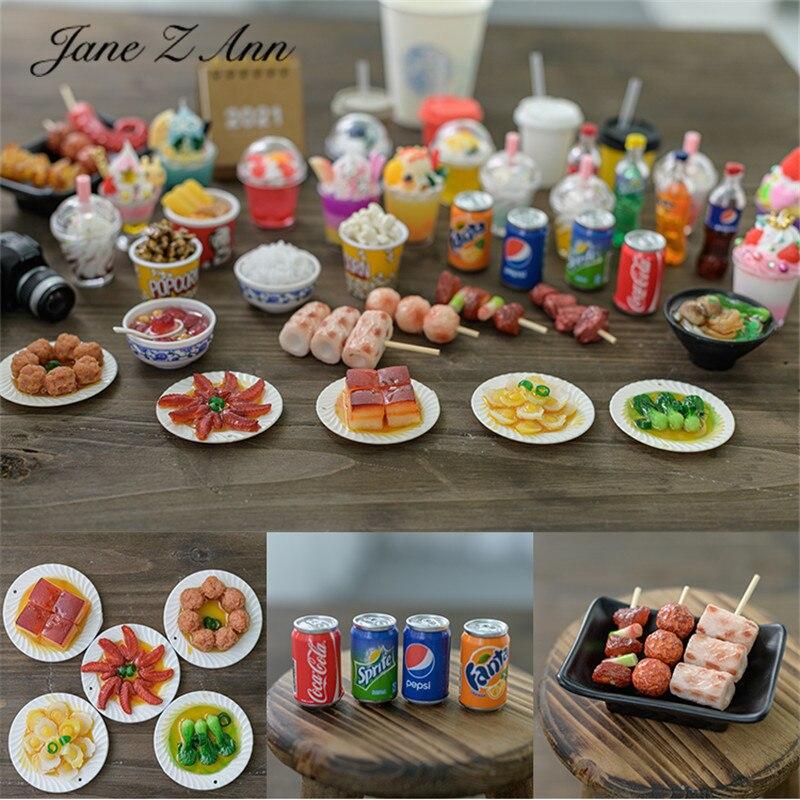 Jane Z Ann Newborn mini Simulation tiny Dish Noodles Skewers Rice Drinks Milk Tea Ice Cream Photography Prop Ornaments studio