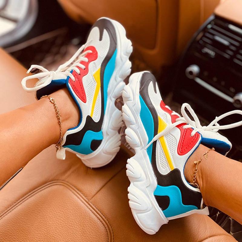 Dames femmes baskets plate-forme vulcanisé chaussures marche à lacets confortable chaussures décontractées Tenis sport formateurs taille 36-43