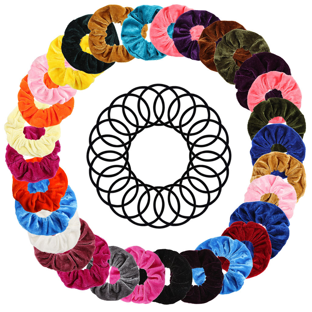 50 Pieces Hair Elastic Band Girls Hair Ties Rubber Band Ponytail Ring Multicolor