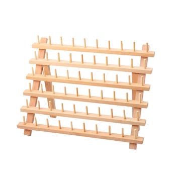 Naturalnie drewniane składane stojaki na nici zdobienie do szycia szpule organizator na nici 60 szpule stojaki na stojaki składane tanie i dobre opinie Kesoto CN (pochodzenie) Przędzy Przechowywania Drewna Wooden Thread Rack Regały magazynowe