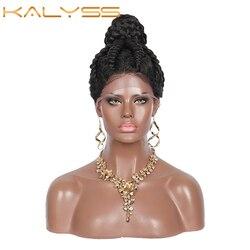 Kalyss 360 suisse dentelle avant tressé perruques pré-tressé haute chignon Style avec des cheveux de bébé pour les femmes noires torsion Cornrow boîte tresses perruque