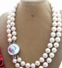 "Jewelry Pearl Necklace Beautiful Excellent! 17"" 11mm Bead-Nucleated Pearl Necklace-Mabe Clasp Free Shipping(China)"