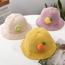 New Children's Cartoon Cute Fruit Small Fresh Fisherman Hat Autumn And Winter Baby Corduroy Basin Cap 1-3 Years Old Wild Warm(China)
