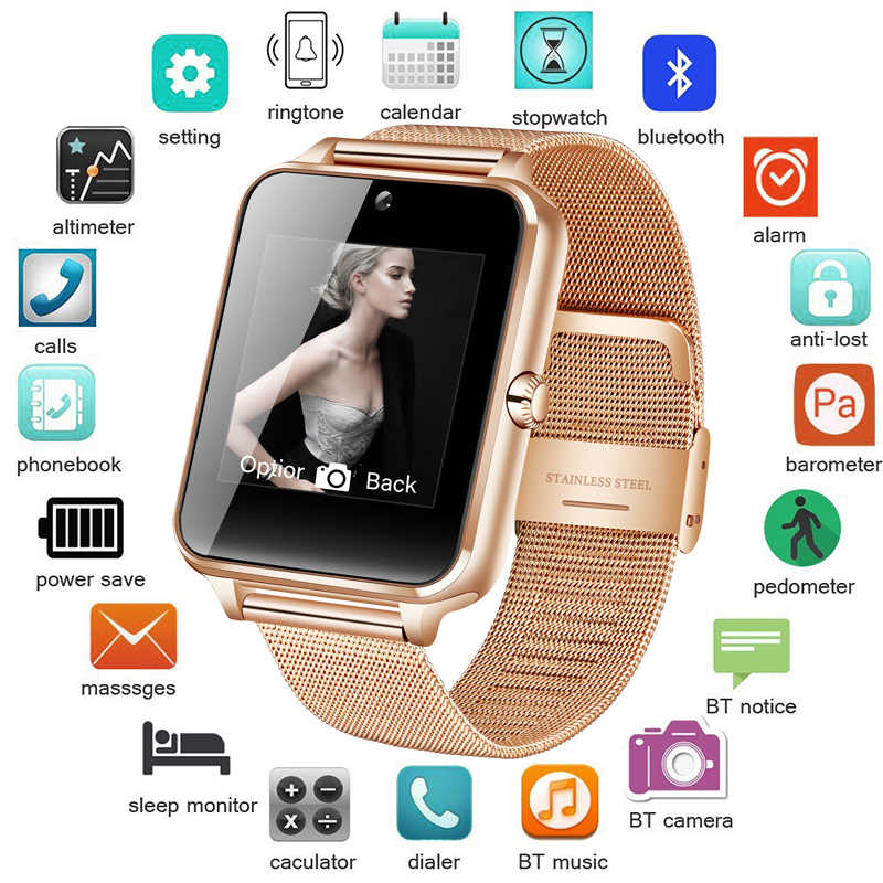 Nouvelle montre intelligente bracelet en métal Bluetooth poignet Smartwatch Support Sim TF carte Android et IOS montre multi-langues relogio inteligente