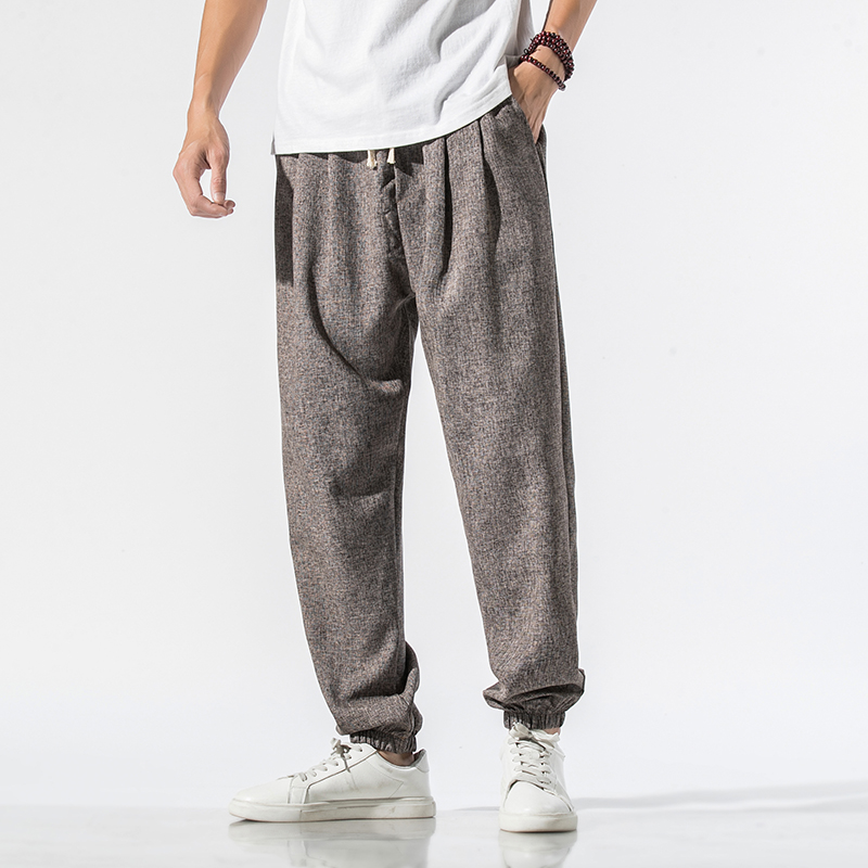 2020 Summer Harem Pants Men Lightweight Cotton Linen Streetwear Loose Mens Joggers Pants Casual Men Trousers 4XL 5XL