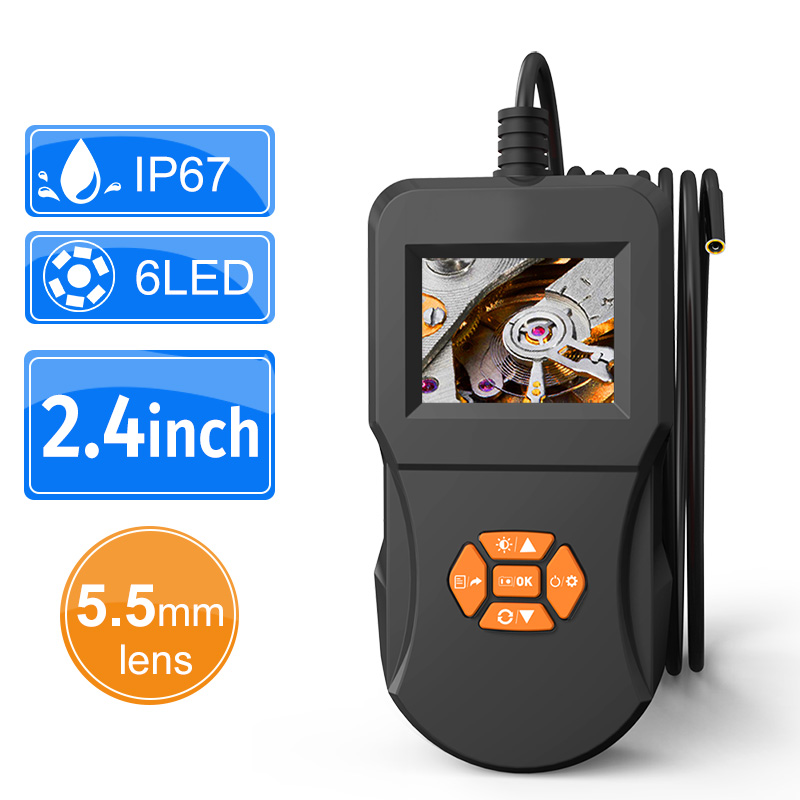 Digital Inspection Camera 2.4 Inch IPS LCD Screen Industrial Endoscope Camera 6 LED With IP67 Semi-rigid Handheld Video Borescop