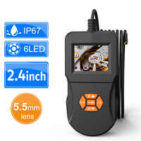Digital Inspection Camera 2.4 Inch IPS LCD Screen Industrial Endoscope Camera 6 LED with IP67 Semi-rigid Handheld Video Borescop