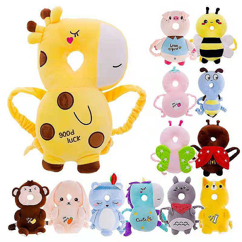 Toddler Baby Head Protection Cushion Backpack Plush Toys Adjustable Cartoon Headrest Baby Head Protector for Learning Walk Sit