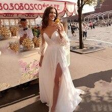 לורי נסיכת חתונה שמלה מתוקה Appliqued פאף שרוולים הכלה שמלת אונליין ללא משענת Boho שמלת כלה