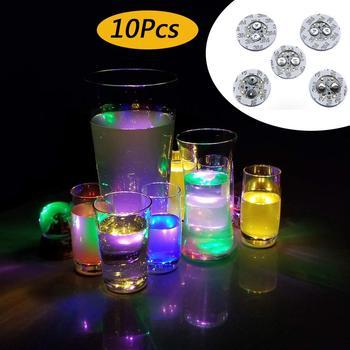 10Pcs Light Up Coasters LED Bottle Lights Glorifier LED Sticker Coaster Discs for Christmas Party Wedding Club Bar Decoration 1