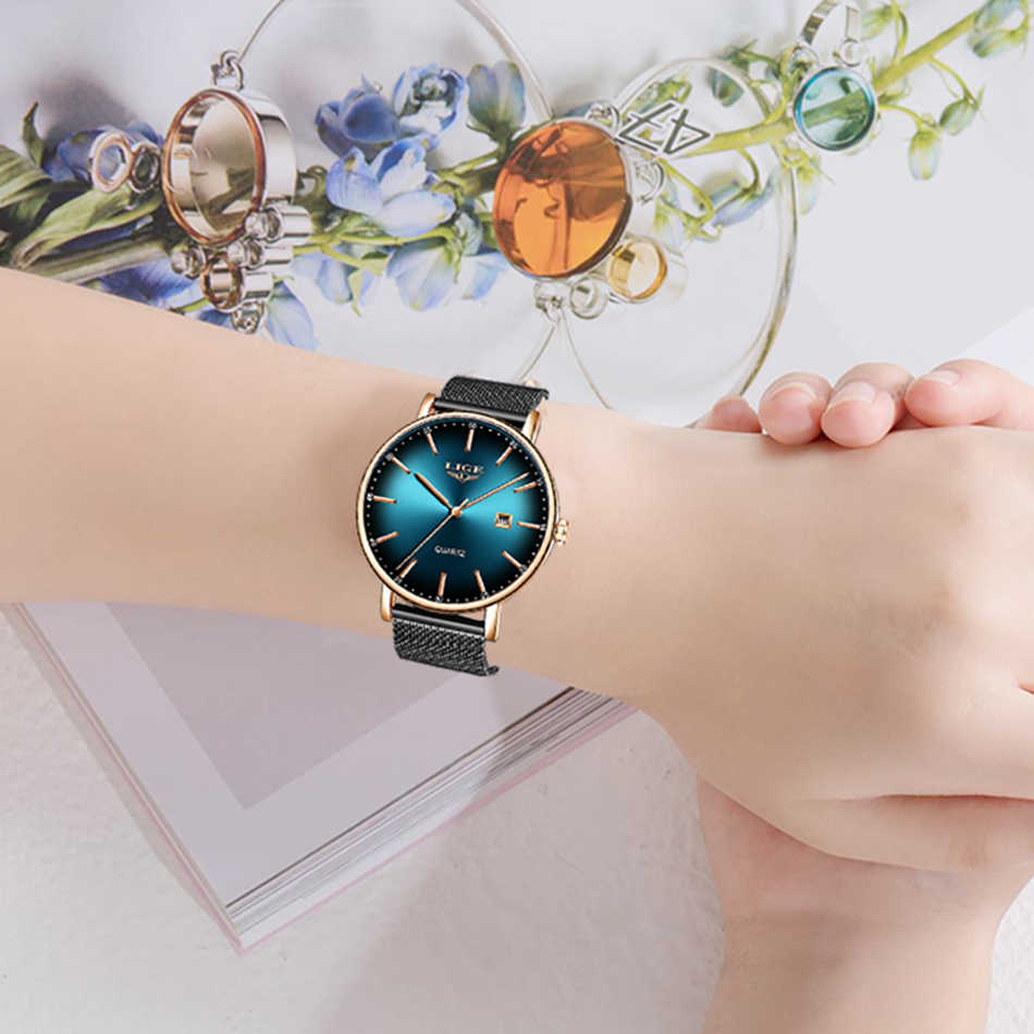 LIGE 2020ใหม่ผู้หญิงนาฬิกาแบรนด์หรูสุภาพสตรีตาข่ายเข็มขัดUltra-Thinนาฬิกาสแตนเลสกันน้ำนาฬิกาควอตซ์reloj Mujer
