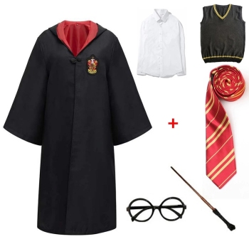 купить Potter Cloak Cosplay Costume Accessories Potter Halloween Cosplay Clothing Sets Wand Scarf Tie Shirt Skirt Glasses Dropshipping в интернет-магазине