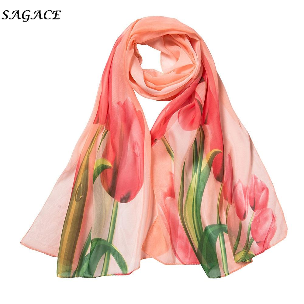 SAGACE Scarf Women Chiffon Flower Printing Long Soft Wrap Shawl Scarves Ladies Soft Warm Winter Scarf In Women's Scarf Silk